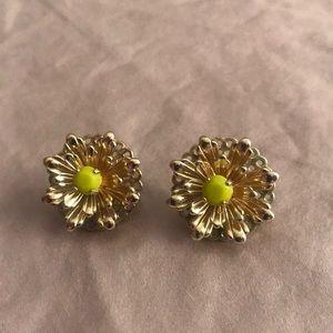J. Crew gold flower post earrings